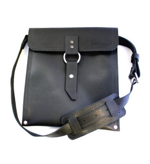 "Slim 10"" Richmond Traveler iPad (Tablet) Bag in Black Leather"