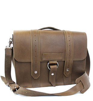 "15"" Large Sierra Voyager Laptop Bag in Brown Oil Tanned Leather"