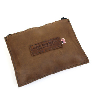 Leather Utility Zip Pouch - large - Brown Leather