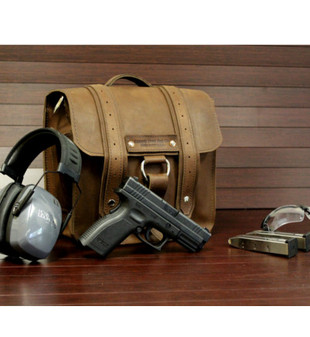 "10"" Small Compact Agnes Concealed Weapons Bag (CCW) in Brown Oil Tanned Leather"