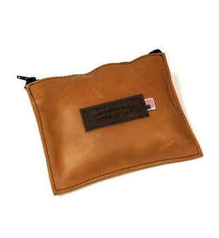 Leather Utility Zip Pouch - Large- Tan Grizzly - Leather