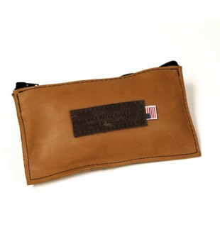 Leather Utility Zip Pouch - Small - Tan Grizzly - Leather