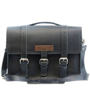 """15"""" Large Sierra Belmar BuckHorn Laptop Bag in Black Excel Leather"""