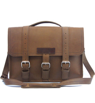 "15"" Large Sierra BuckHorn Laptop Bag in Brown Oil Tan Leather"