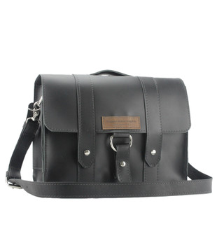 "14"" Medium Newtown Journeyman  Laptop Bag in Black Excel Leather"