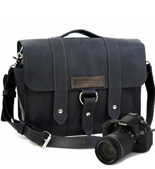 "15"" Large Sonoma Journeyman Black Camera Bag in Black Napa Excel Leather"