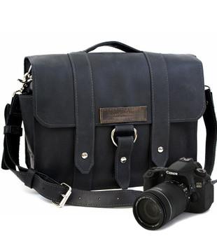"15"" Large Sonoma Journeyman Black Camera Bag in Black Napa Excel Leather"