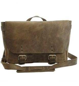 "14"" Medium Lewis & Clark Courier Mail Bag in Distressed Tan Oil Tanned Leather"