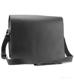 "10"" Small Safari Mission iPad (Tablet) Bag in Black Napa Excel Leather"