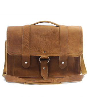 "15"" Large Classic Alpine Briefcase in Grizzly Tan Leather"