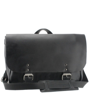 "14"" Medium Lewis & Clark Courier Mail Bag in Black Excel Leather"