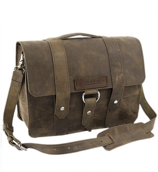 "14"" Medium Newtown Journeyman  Laptop Bag in Distressed Tanned Leather"