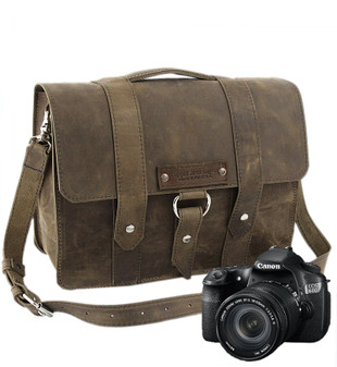 "15"" Large Sonoma Journeyman  Camera Bag in Distressed Tan Oil Tanned Leather"