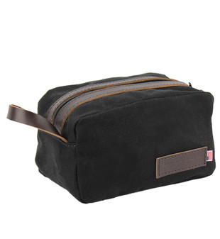 Vintage Toiletry Dopp Kit - Water-resistant, roomy Rugged Cotton Duck Made in the U.S.A. - Black - VIN-DOPK-CD-BL