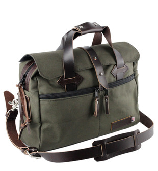 24-Hour 16 inch Duffle / Briefcase - Water Resistant Roomy Cotton Duck - GREEN - 16-CD-GR-24HR-BRIF
