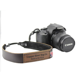 Leather Camera Strap - Made with Coffee Brown Leather