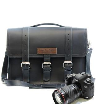 "14"" Medium Sonoma BuckHorn Camera Bag in Black Excel Leather"