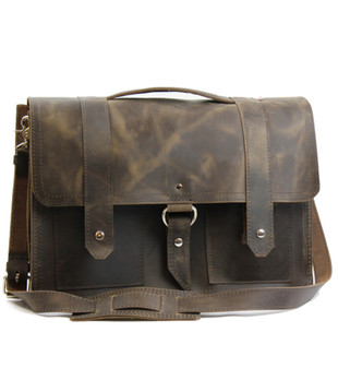 "17"" X-Large Classic Alpine Briefcase - Distressed Tan Leather"