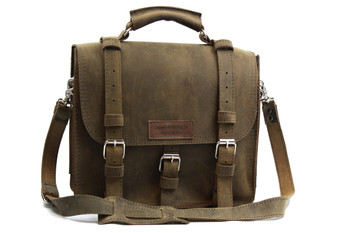 "12"" Small Lincoln Classic Satchel in Distressed Tan Leather / Lined with Suede"