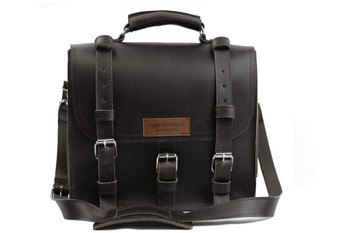 """12"""" Small Lincoln Classic Satchel in Black Excel Leather / Lined with Suede"""