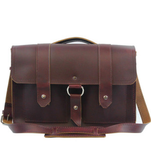 "15"" Large Classic Alpine Briefcase in Burgundy Red Napa Excel Leather"