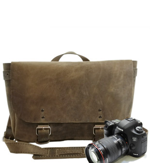 "14"" Medium Lewis & Clark Camera Bag in Distressed Tan Oil Tanned Leather"
