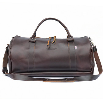 "20"" Leather Duffel Travel Bag in Coffee Excel Leather"
