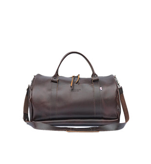 "16"" Everyday Leather Duffel Gym Bag in Coffee Excel Leather"