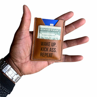 """""""NEW !"""" - The Minimalist Ultra Slim Wallet - WAKE UP - KICK ASS - REPEAT"""