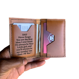 NEW ! To Dad Love Daughter Roughman NewYorker Wallet - Made with Full Grain Napa Excel Leather