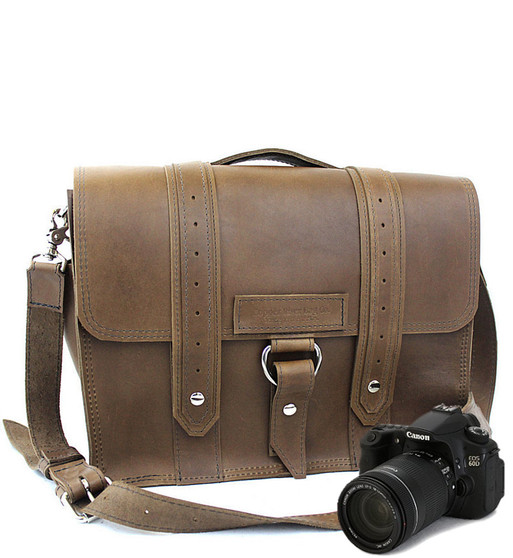 """14"""" Medium Newport voyager Camera Bag in Brown Oil Tanned Leather"""