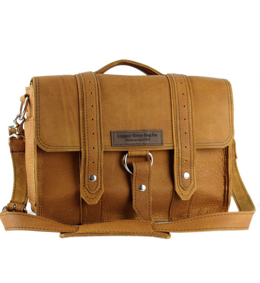 """15"""" Large Sierra Voyager Laptop Bag in Tan Grizzly Leather"""