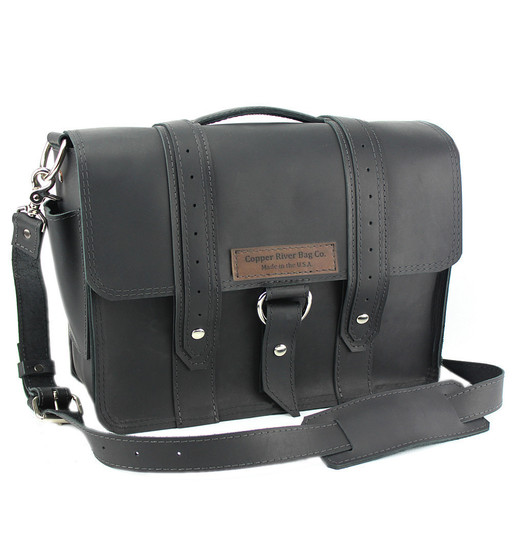 "14"" Medium Rockport Voyager Briefcase in Black Leather"
