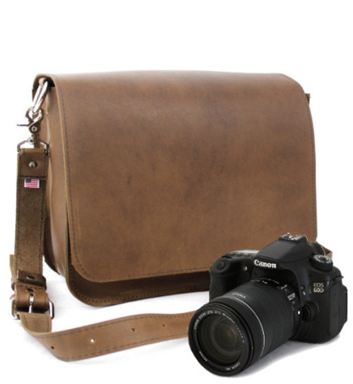 """14"""" Medium Mission Newport Camera Bag in Brown Oil Tanned Leather"""
