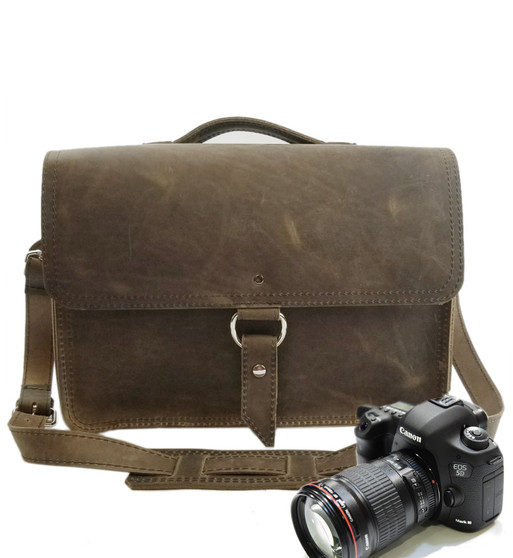 """15"""" Large Midtown Sonoma Camera Bag in Distressed Tan Oil Tanned Leather"""