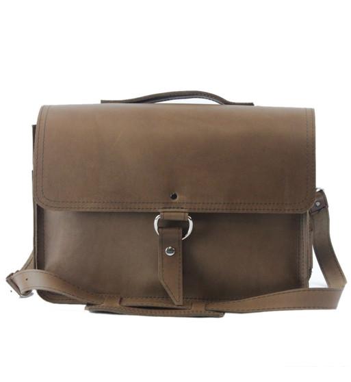 "14"" Medium Newtown Midtown Laptop Bag in Brown Oil Tanned Leather"