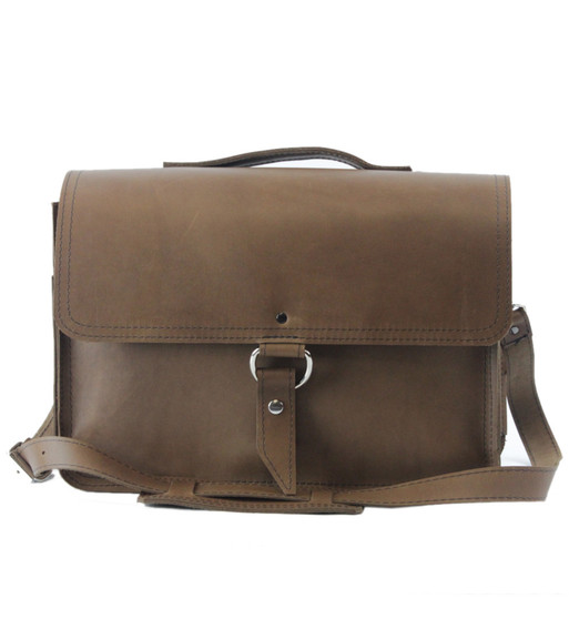 "15"" Large Sierra Midtown Laptop Bag in Brown Oil Tanned Leather"