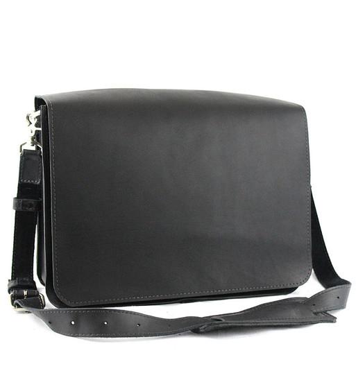 """15"""" Large Sierra Mission Laptop Bag in Black Excel Leather"""