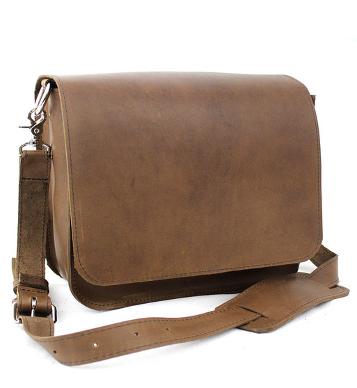"""15"""" Large Sierra Mission Laptop Bag in Brown Oil Tanned Leather"""