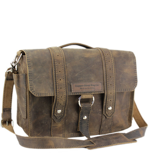 "15"" Large Sierra Voyager Laptop Bag in Distressed Tan Oil Tanned Leather"