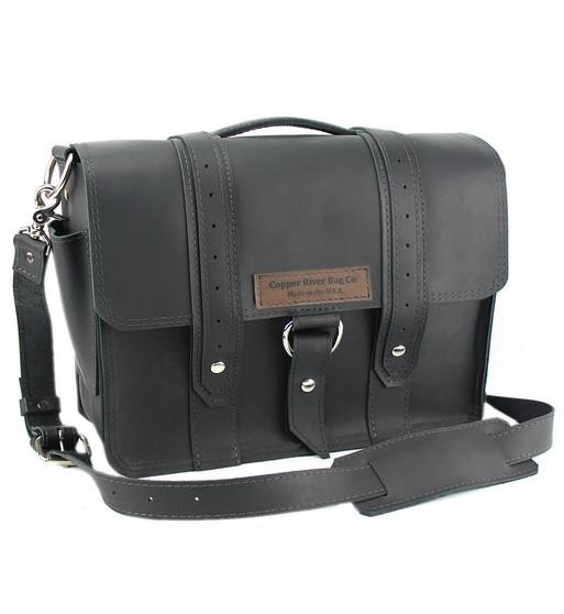 """15"""" Large Sierra Voyager Laptop Bag in Black Excel Leather"""