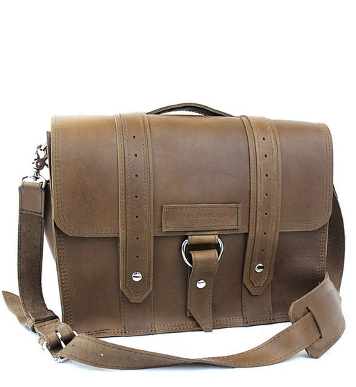 """15"""" Large Sierra Voyager Laptop Bag in Brown Oil Tanned Leather"""