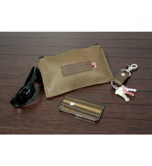 Leather Utility Zip Pouch - Small - Brown - Leather
