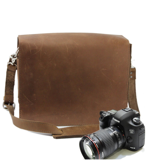 """10"""" Small Mission Napa Camera Bag in Brown Oil Tanned Leather"""