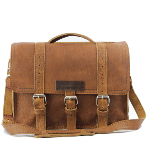 """15"""" Large Belmar BuckHorn Briefcase in Tan Grizzly Leather"""