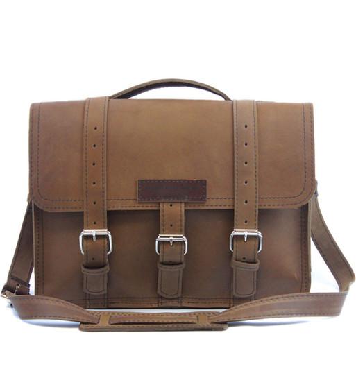 """15"""" Large Sierra BuckHorn Laptop Bag in Brown Oil Tan Leather"""