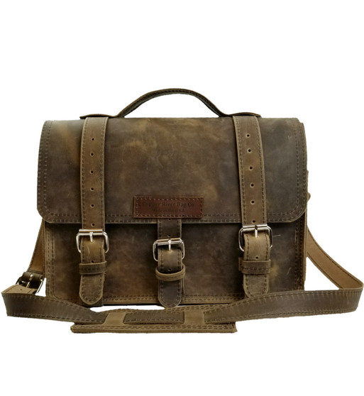 "15"" Large Sierra BuckHorn Laptop Bag in Distressed Tan Oil Tan Leather"