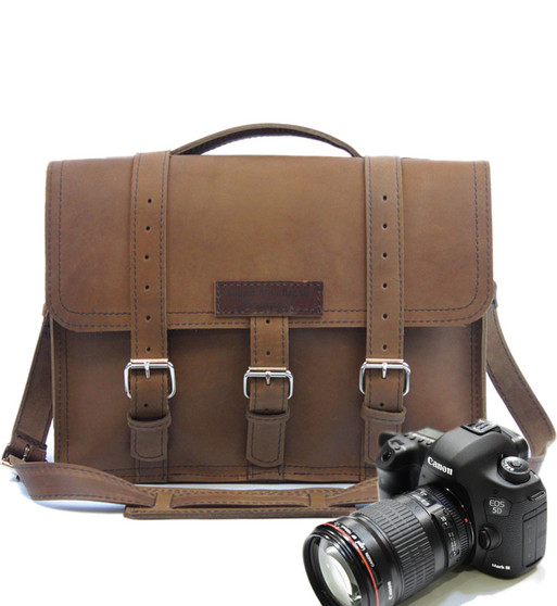 "15"" Large Sonoma BuckHorn Camera Brown Oil Tanned Leather"