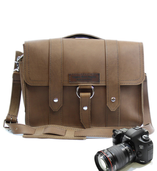 "14"" Medium Newport Journeyman Camera Bag in Brown Oil Tanned Leather"