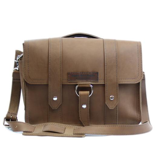"""14"""" Medium Newtown Journeyman Briefcase in Brown Oil Tanned Leather"""